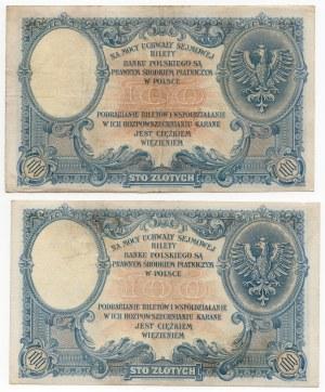 Zestaw 2 sztuk - 100 złotych 1919 - Seria S.C.