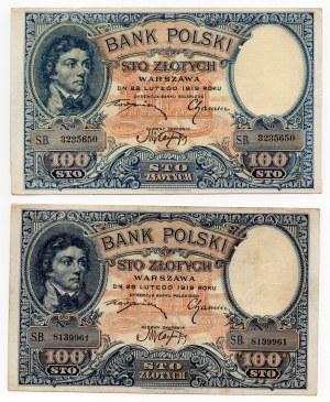 Zestaw 2 sztuk - 100 złotych 1919 - S.B.