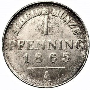 NIEMCY - Prusy - Wilhelm I (1861-1888) - 1 fenig 1865 odbitka w niklu