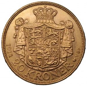 DANIA - Krystian X (1912-1947) 20 koron 1914 - Kopenhaga - złoto 900