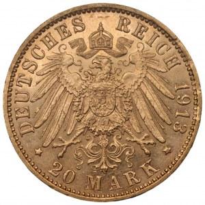 NIEMCY - Hamburg (J) - 20 marek 1913 - Au 900, 7,96 gram