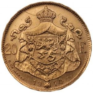 BELGIA - Król Albert I (1910 - 1934) - 20 franków 1914 - złoto 900