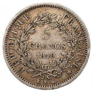 FRANCJA - 5 franków 1849 Herkules - mennica (K) Bordeaux
