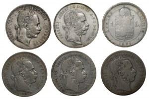 AUSTRIA - WĘGRY - Zestaw 6 monet srebrnych - 1879,1890