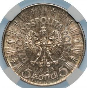 II RP - 5 złotych 1935 - Józef Piłsudski - NGC UNC Details