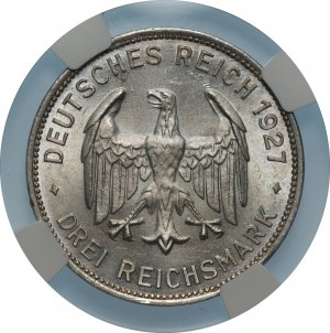 NIEMCY - Republika Weimarska - 3 marki 1927 - F, Stuttgart - Uniwersytet w Tybindze - NGC UNC Details