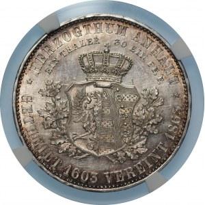 NIEMCY - Anhalt-Dessau - Leopold Fryderyk - Talar 1863 - NGC UNC Details
