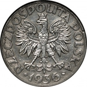 II RP - 2 złote 1936 - Żaglowiec - PCG MS68