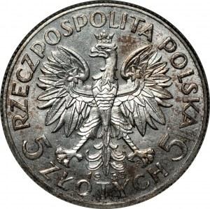 II RP - 5 złotych 1933 - Głowa kobiety - PCG MS64