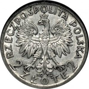 II RP - 2 złote 1932 - Głowa kobiety - PCG MS68