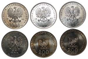 Zestaw 6 sztuk monet srebrnych (1976-1983) Mapka, Jan Paweł II