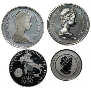 KANADA, ANDORA - zestaw 4 srebrnych monet (1975-2014)