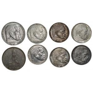 NIEMCY III Rzesza - 6 x 2 marki, 2 x 5 marek (1935-1938) - różne mennice