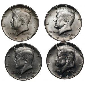 USA - 4 x 1/2 dolara 1964 - Kenedy