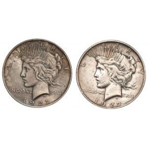 USA - 2 x 1 dolar 1922 - Peace Dollar