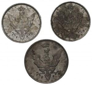 Królestwo Polskie - 2 x 10 Fenigów i 20 Fenigów 1917