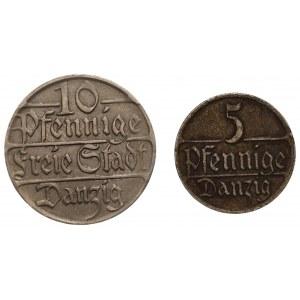 Wolne Miasto Gdańsk - 5 fenigów 1928, 10 fenigów 1923