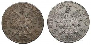 II RP - 2 x 5 złotych 1933 - Głowa kobiety