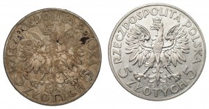 II RP - 2 x 5 złotych 1932/1933 - Głowa kobiety