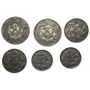 Zestaw 6 sztuk monet - 2 x 10,20,50 groszy 1923