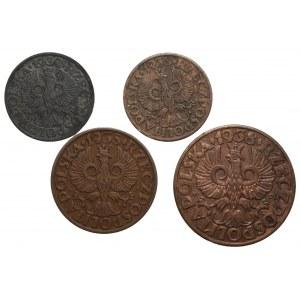 II RP - Zestaw 4 monet - 1,1,2,5 groszy (1935-1938)