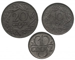Generalna Gubernia - Zestaw 3 monet - 1,10,20 groszy 1939/1923
