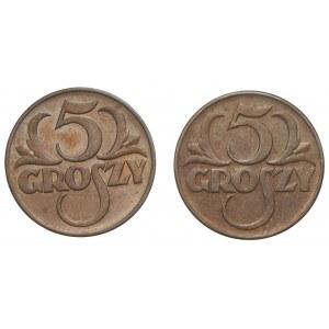 II RP - Zestaw 2 monet - 2 x 5 groszy 1938/1939