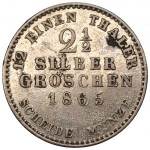 NIEMCY - Hesja - 2 1/2 grosza 1865