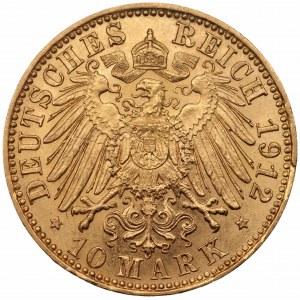 NIEMCY - Saksonia - Fryderyk August III - 10 marek 1912 E