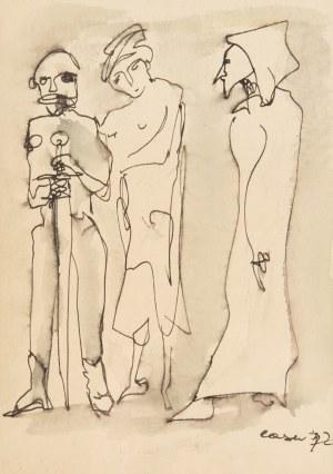 Otto Axer (1906 Przemyśl-1983 Warszawa), Trzy postaci z mieczem, 1972 r.