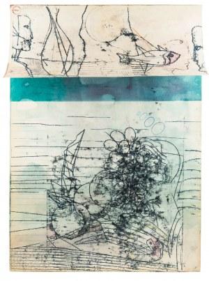 Andrzej M. Bartczak (ur. 1945), Podwójna scena ze znakami wodnymi, 1988 r.