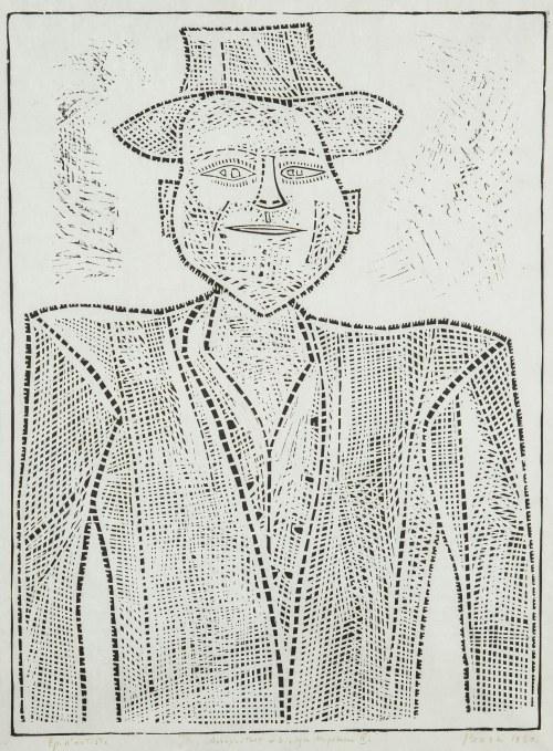 Jerzy Panek (1918 Tarnów-2001 Kraków), Autoportret w białym kapeluszu II, 1960
