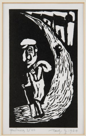 Jerzy Duda-Gracz (1941 Częstochowa - 2004 Łagów), Wędrowiec, z cyklu Judaica, 1964 r.
