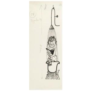 Jerzy Flisak (1930 Warszawa - 2008 tamże), Prysznic, ilustracja do Szpilek 29