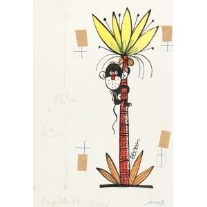 Jerzy Flisak (1930 Warszawa - 2008 tamże), Małpka na palmie, ilustracja do Szpilek nr 31