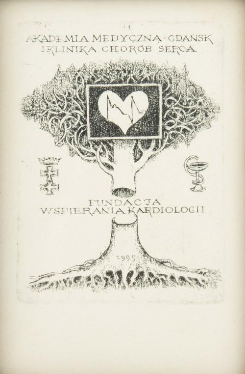 Ryszard Stryjec (1932 Lipniszki k. Lidy-1997 Gdańsk), Ex libris Fundacja Wspierania Kardiologii, 1995
