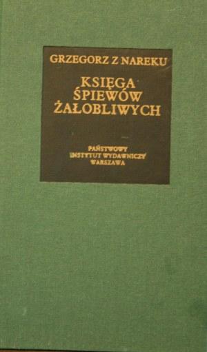 Bibliotheca Mundi - Grzegorz z Nareku - Księga śpiewów żałobliwych.