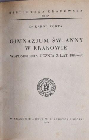 Biblioteka Krakowska nr 97 Korta Karol - Gimnazjum św. Anny w Krakowie.