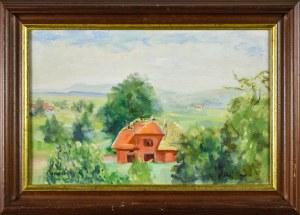 Irena WEISS – ANERI (1888-1981), Kalwaria - Pejzaż z budowanym domem, ok. 1970