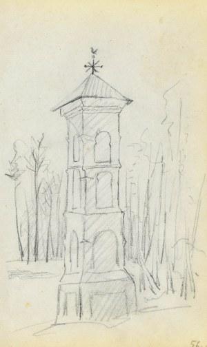Jacek MALCZEWSKI (1854-1929), Kapliczka przydrożna murowana wielopoziomowa na tle zagajnika