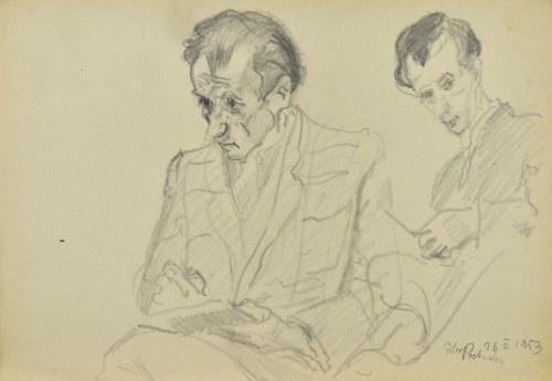 Kasper POCHWALSKI (1899-1971), Dwóch mężczyzn w trakcie szkicowania, 1953