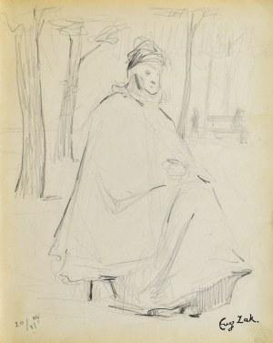Eugeniusz ZAK (1887-1926), Stara kobieta siedząca w parku (Paryż), 1904