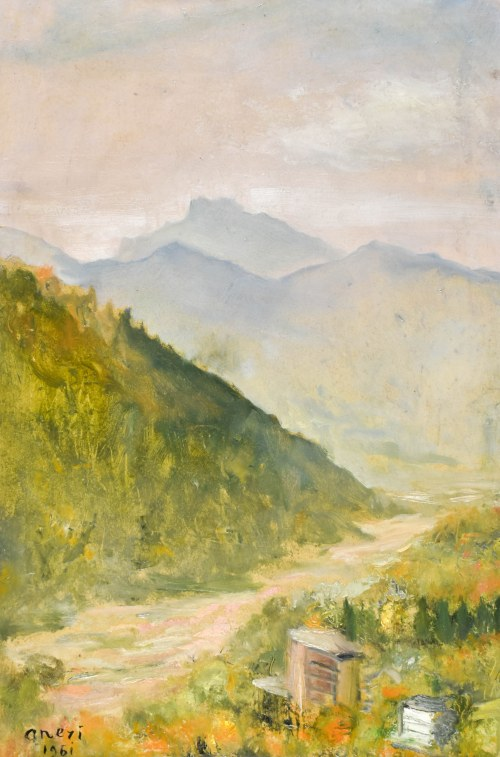 Irena WEISS – ANERI (1888-1981), Pejzaż pieniński z rzeką, 1961