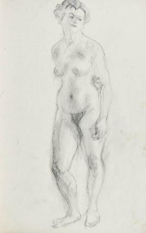 Kasper POCHWALSKI (1899-1971), Akt stojącej kobiety z lewą ręką założoną za plecami, 1953