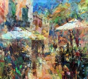 Krzysztof Ludwin, Barcelona. Plac parasoli i pomarańczy, 2020