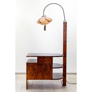 Stolik pomocniczy art déco z lampą