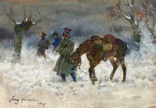 Jerzy Kossak(1886-1955), ''Odwrót szwoleżerów spod Moskwy''