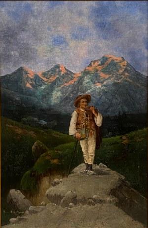 Karol Heimroth(1860-1930),''Zakopiański góral u podnóża Tatr''