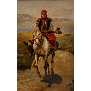 Ignacy Zygmuntowicz(Cz.Wasilewski 1875-1946), ''Hucułka na koniu''