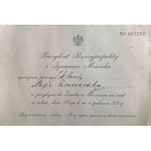 Karta z zaproszeniem od prezydenta Ignacego Mościckiego